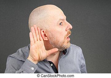 słuch, podniesiony, jego, ręka, człowiek, kłosie