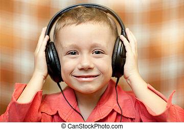 słucha, słuchawki, muzyka, dziecko