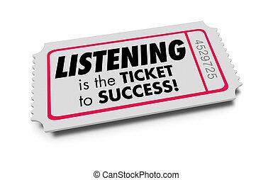 słuchający, powodzenie, ilustracja, słuch, nauka, bilet, 3d