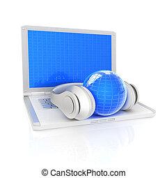 słuchawka, laptop