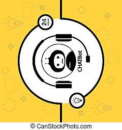 słuchawki, chatbot, czarne koło, robot, tło, pojęcie, biały