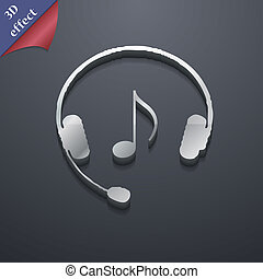 słuchawki, ikona, symbol., 3d, style., modny, nowoczesny, projektować, z, przestrzeń, dla, twój, tekst, ., rastrized