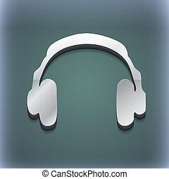 słuchawki, ikona, symbol., 3d, style., modny, nowoczesny, projektować, z, przestrzeń, dla, twój, tekst, ., raster