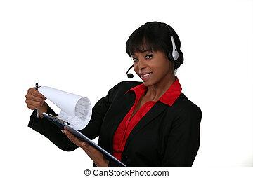 słuchawki, kobieta, clipboard