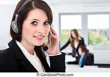 słuchawki, kobieta handlowa
