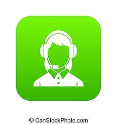 słuchawki, kobieta handlowa, zielony, cyfrowy, ikona