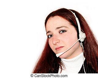 słuchawki, kobieta, młody
