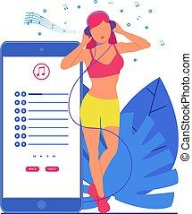 słuchawki, następny, telefon, muzyka, dziewczyna, słucha