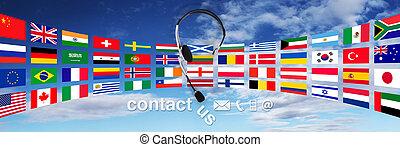 słuchawki, pojęcie, niebo, tekst, na, kontakt, bandery