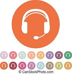 słuchawki, poparcie, symbol., icon., płaski