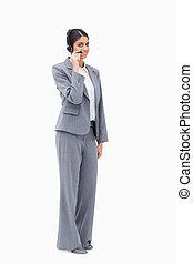 słuchawki, przedstawiciel, środek, jej, rozmowa telefoniczna