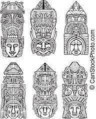 słupy, aztek, totem