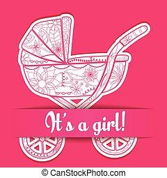 s, それ, 乗り物, ペーパー, 女の赤ん坊, カード