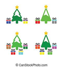 s, 木, クリスマスプレゼント, アイコン