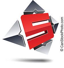 """S 3d letter. - Illustration of """"S"""" 3d design element."""