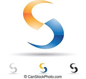 s, abstrakt, brev, ikon