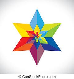 s, abstratos, forma estrela, coloridos