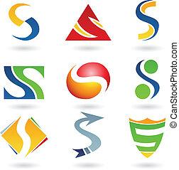 s, abstratos, letra, ícones