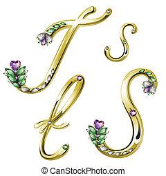 s, alfabeto, letras, jóia, ouro