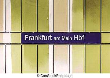 S-Bahn Sign Frankfurt am Main at the wall