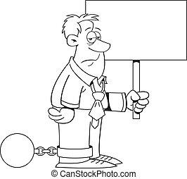 s, bola, caricatura, corrente, homem