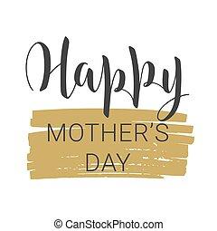 s, branca, lettering, manuscrito, dia, feliz, fundo, mãe