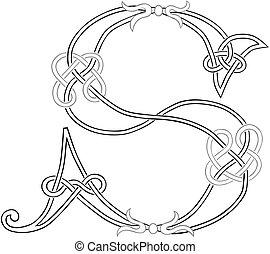 s, capital, celtique, lettre, knot-work