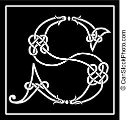s, capitale, celtico, lettera, knot-work