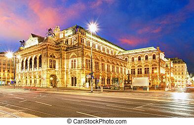 's, casa de ópera, estado, austria, noche, viena