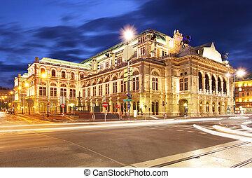 's, casa de ópera, estado, noche, austria, viena