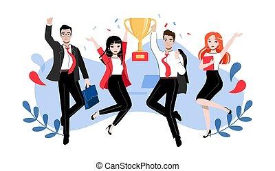 s, collaboration, plat, dessin animé, linéaire, créativité, contour, poses, illustration, innovation, étudiants, réussi, différent, concept., cup., groupe, brain-storming, professionnels, ou, vecteur, gagnant, heureux