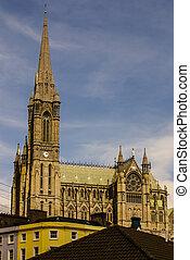 s., colman's, gótico neo, catedral, en, cobh, sur, irlanda