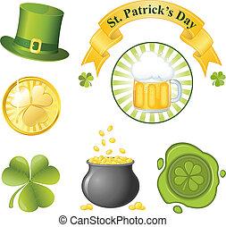 s., conjunto, patrick's, día, icono
