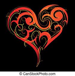 s., día, valentineçs, corazón -shape