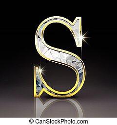 s, diamant, 3d, brief, prachtig