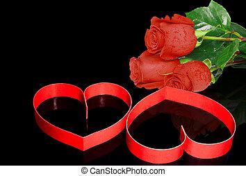 s., dos, valentine, day., roses., corazones, rojo
