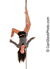 S factor - Young woman exercising pole dance fitness