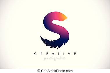 S Feather Letter Logo Icon Design With Feather Feathers Creative Look Vector Illustration