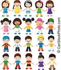 s, felice, cartone animato, collezione, bambini