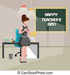 s, feliz, professor, dia