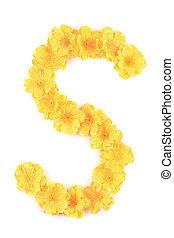 s, flor, alphabet., letra
