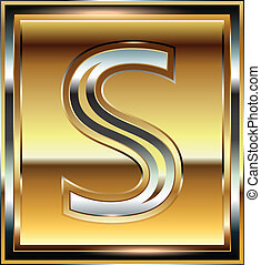 s, fonte, ingot, ilustração, letra