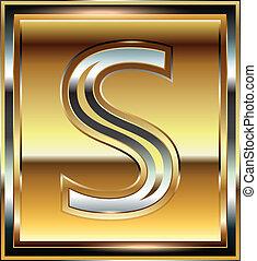 s, fuente, lingote, ilustración, carta