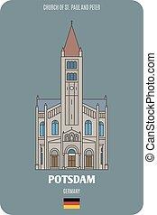 s., germany., europeo, iglesia, arquitectónico, peter, potsdam, ciudades, paul, símbolos