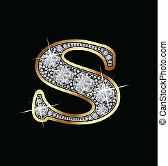 S gold and diamonds letter vector
