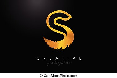 S Golden Gold Feather Letter Logo Icon Design With Feather Feathers Creative Look Vector Illustration