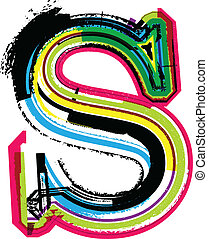 s, grunge, coloridos, letra