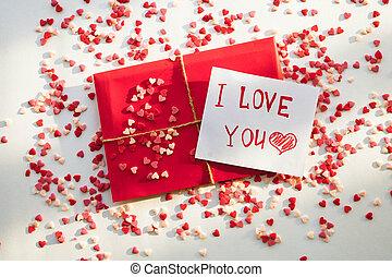 's, hoppa, vit, hjärta, valentinbrev, kontor, post, brev, ...