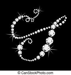 s, itálico, carta, con, diamantes