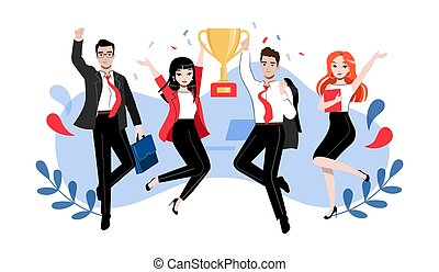 s, lavoro squadra, appartamento, cartone animato, lineare, creatività, contorno, pose, illustrazione, innovazione, studenti, riuscito, differente, concept., cup., gruppo, brainstorming, persone affari, o, vettore, vincitore, felice